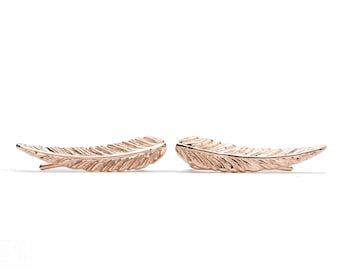 Rose Gold Plated Ear Cuff Feather Ear Climber Pin Earrings Boho Jewelry - FES018