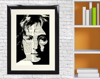 Dictionary Art Print John Lennon music Beatles Liverpool Framed Vintage Poster Picture Handmade Original Artwork Book Page