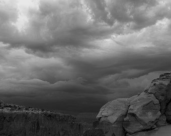 Near Ghost Ranch, Abiquiu, NM-Storm Approaching With Orphan Mesa - 0391 bw