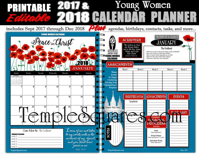 Printable Editable YW Presidency Calendar Planner Agenda 2018 Peace In Christ Me Mutual Bundle Instant download Young Women Instant Download