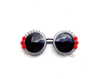 """Ween """"Voodoo Lady"""" decorated sunglasses by Baba Cool 