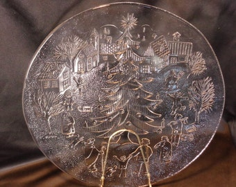 Italian Clear Glass Embossed Christmas Serving Plate Platter, Made in Italy