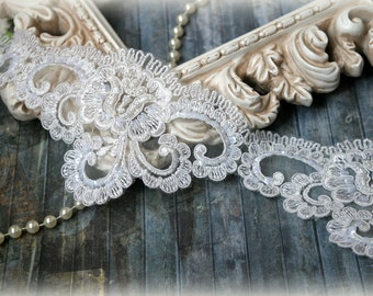 Wide Ivory Alencon Trim with Pearls, Beads, and Sequins, Beaded Trim for Bridal Gowns, Veils, Couture Gowns, Sashes, Crafting, etc, GL-162