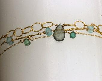 Gemstone stacking bracelets, buy one or set, birthstone bracelet, aquamarine bracelet, march birthstone,  gold bracelet