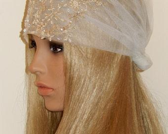 EXCLUSIVE-Hand Beaded Gold Crystal English Net Bridal Bridal Headwrap-Bohemian Chic-Golden hues-CRBoggs Original
