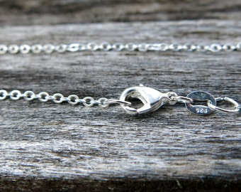 """20"""" - 925 Sterling Silver Filled Chain - Dainty Fine - 20"""" - 20 Inch - Lobster Claw Clasp - .925 Stamped - Cable Chain"""