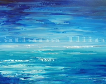 Abstract painting canvas print original fresh creative palette knife contemporary Are WE There Yet Tatiana Iliina Free Shipping  Canada USA