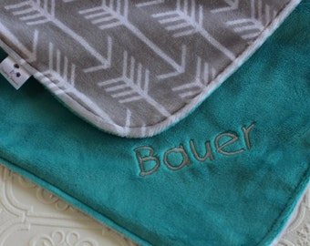 Baby Blanket, Personalized Baby Blanket, Baby Girl or Boy Blanket, Gray Archer Arrows,Teal Baby Blanket, Minky, Baby Name Blanket, Baby Gift