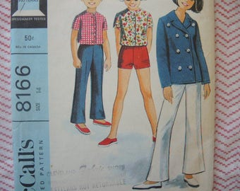 vintage 1960s McCalls sewing pattern 8166 girls jacket and pants or shorts size 14