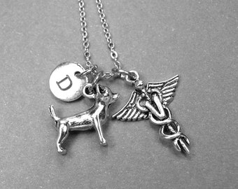 Chihuahua Dog Necklace, Veterinary necklace, dog necklace, gift for VET, Vet graduation gift, personalized necklace, initial necklace