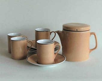 Schmid Kreglinger teapot / with 4 cups and saucers / made in Japan / sixties tea service