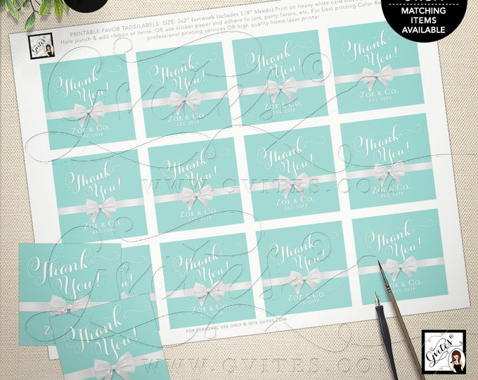 "Thank you blue gift labels, stickers, baby and co, bride and co, party decor, breakfast at, personalized party favors, 2x2"" 12/Per Sheet."