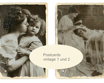 Instant DOWNLOAD 4 postcards Mother and child and children on A 4 digital collage sheet
