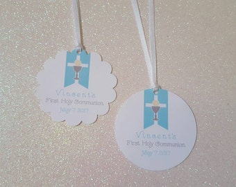 "First Holy Communion Favor Tags *First Eucharist Favor Tags *Challis & Host *2.25"" Circle  *Blue and Silver Communion Tags *PERSONALIZED"