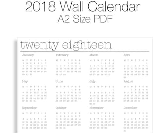2018 Yearly Wall Calendar (A2 Size)
