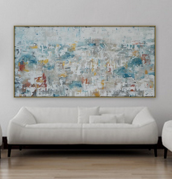 Large Original abstract painting modern gold white blue grey and orange/ red abstract cityscape wall art acrylic painting xl abstract paint