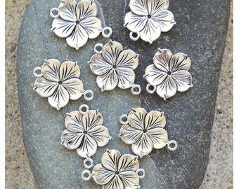 8 connecteurs fleurs 2 anneaux, argenté, 26x21 mm