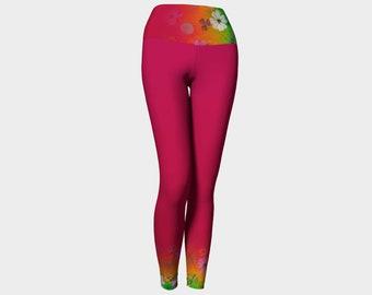 Tye-Dye Flowers Hot Pink Yoga Leggings