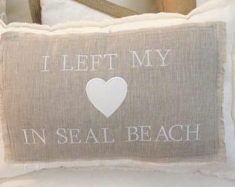Personalized Custom Linen Pillow, I left my Heart Pillow, Coastal Pillows, White Pillow