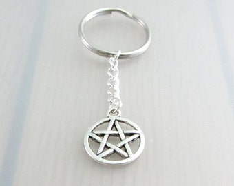 Pentagram Charm Keychain, Pentacle Charm Keyring, Silver Wiccan Keychain, Pagan Charm Keyring, Supernatural Keychain, Witches Gift