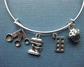 Baking Bangle - Baking Charm Bracelet - Baking Jewelry - Charm Bracelet - Bangle - Baker  -- B133