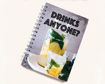 Blank Recipe Book | Mojito Pattern | Personal Recipe Book | Add your own recipes | Home Recipes | Recipe Journal | B0003
