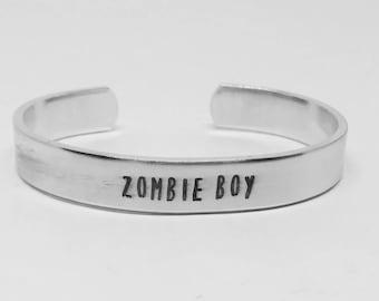 "ZOMBIE BOY: Stranger Things inspired unisex aluminum 6"" cuff bracelet"