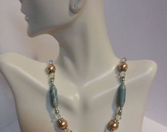 Blue and Tan Paper Bead Necklace