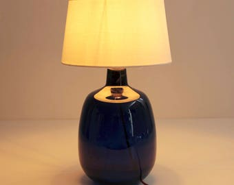 Navy Blue lamp and shade white