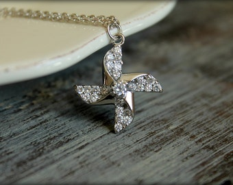 Diamond Encrusted Pinwheel Necklace, Available in Silver or Gold