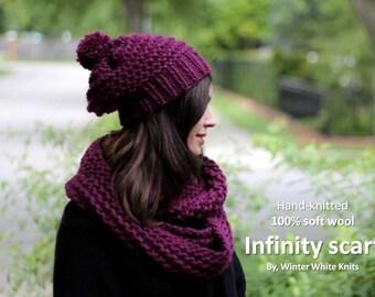 Wool knit scarf, Deep berry infinity scarf, knit winter scarf, hand-knit scarf, chunky knit scarf