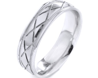 Womens Mens 14K Solid White Gold  Wedding Band Ring 6mm Wide Plain Engagement Ring