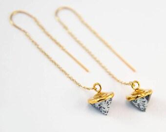 Dendrite Opal Earrings, Gold Threader Earrings, Gemstone Spike Earrings, Ear Threaders, Minimal Jewelry, Dainty Everyday Earring, Gold Chain