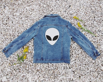 Alien Embroidered Jean Jacket | Tumblr NASA Space Galaxy Edgy Hipster