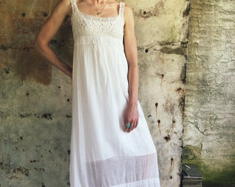 1970s White Cotton Gauze Crochet Maxi Dress
