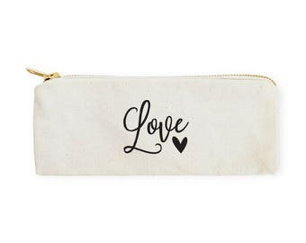 Love Cotton Canvas Pencil Case and Travel Pouch for Back to School, Supplies, Cute Teen Gift, Zipper Pouch, DIY, Makeup Bag, Stationery