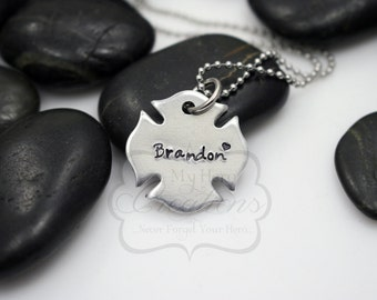 Hand-Stamped Personalized Firefighter / Maltese Cross Necklace