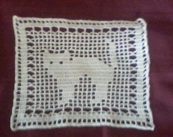 Vintage Hand Crochet Filet Cat Doily 8 x 8 #1