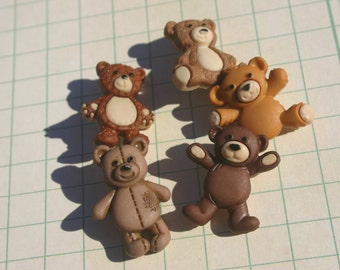 Teddy Bear Buttons - Brown Bear Sewing Shank Button - 5 Buttons
