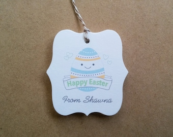 Colorful Easter egg tags - Personalized Happy Easter gift tags - Happy Egg face tags - Easter party tags - Tags for Easter baskets - TH26