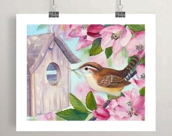Wren bird watercolor print nest in tree wall art Spring wall decor by Janet Zeh Original Art