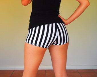 Black and White Ref Stripe Roller Derby Shorts