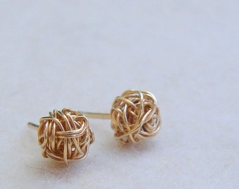 Gold Stud Earring, Wire Ball Post Earrings, Gold Earring Studs, Gold Stud Earrings