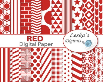 Red digital paper - Red scrapbooking paper - Commercial Use - Red chevron - Red polkadots - Red dots - Red stripes - Red stars - Red flower