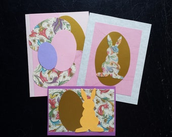 Set of 3 Easter Greeting Cards Blank with Envelopes