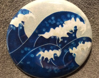Crashing Waves pinback button or magnet