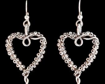 Octopus Tentacle Heart Earrings Silver Tentacle Charm Cephalopod Jewelry Tentacle Heart Earrings Ocean Sea Jewelry Octopus Squid Earrings