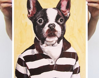 Animal painting drawing illustration portrait painting mixed media digital print POSTER 11x16: Sporty Frenchie