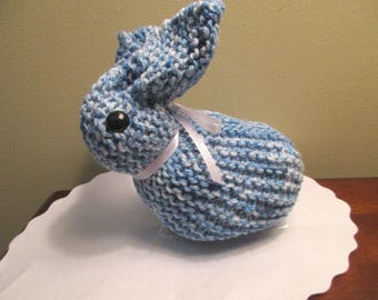 "Knit Bunny Rabbit Blue 7"" Tall - Easter Bunny Stuffed Animal"