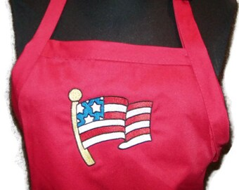"American Flag BBQ Apron Embroidered for Home or Grill 34"" Full Length Embroidery Stitched Red - Ready to Ship"